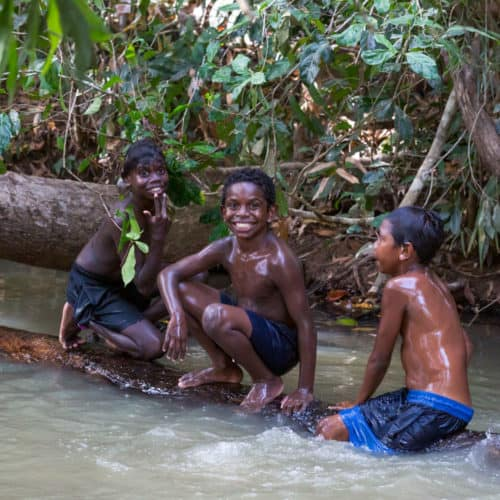 Local childres in the creek near the Lockhart River Community.