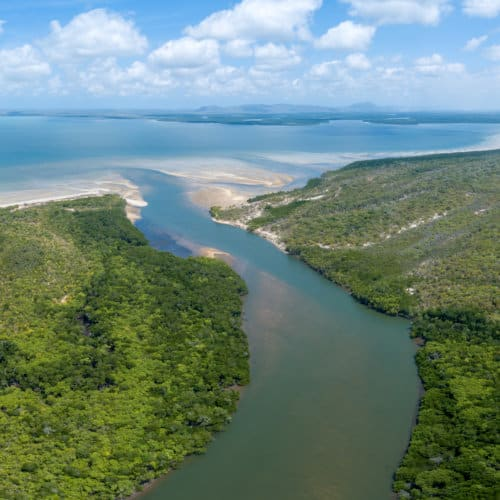 An aerial photo of the Lockhart River estuary.